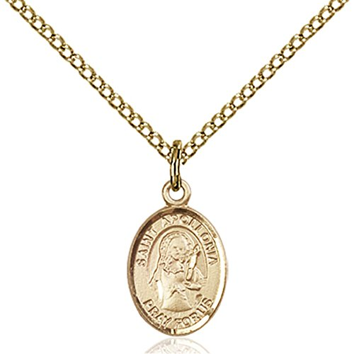 Gold Filled St. Apollonia Pendant 1/2 X 1/4 Inches With Gold Filled Lite Curb Chain