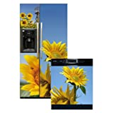 Appliance Art Sunflowers Refrigerator and Dishwasher Combo Magnet (SXS) Cover ~ Appliance Art