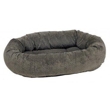 "Bowsers Donut Dog Bed, Microvelvet Pewter Bones, Large 42"""