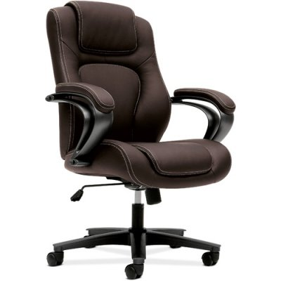 basyx by HON VL402 Managerial High-Back Chair with Loop Arms for Office or Computer Desk, Brown