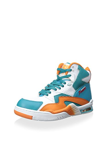 British Knights Men's Hightop Sneaker, White/Sour Blue/S Orange, 10 M US