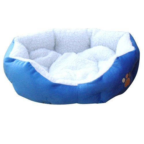 SODIAL(TM) Blue Warm Indoor Soft Fleece Puppy Pets Dog Cat Bed House Basket With Mat waterproof