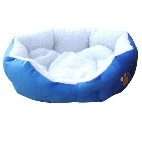 SODIAL(TM) Blue Warm Indoor Soft Fleece Puppy Pets Dog Cat Bed House Basket With Mat waterproof