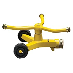 Nelson Three-Arm Square Pattern Spray Whirling Sprinkler with Metal Wheel Base 50231