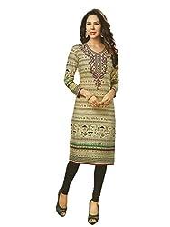 PShopee Khadi Cream Cotton Varli Printed Unstitched Kurti/Top Material