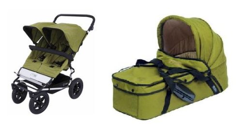 Mountain Buggy DUO Stroller WITH 2 Carrycots (Moss Dots)