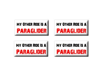 My Other Ride Vehicle Car Is A Paraglider 3D Domed Set of 4 Stickers