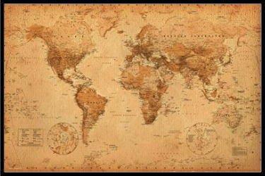 アンティーク スタイル 世界地図 WORLD MAP antique style ポスター フレームセット【送料無料】 [おもちゃ&ホビー]
