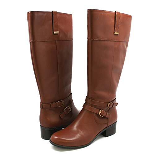 Women's Bandolino Carlotta Wdie Calf Leather Boots Brown 11M