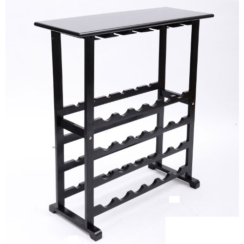 Homcom 24 Wine Bottle / Glass Holder Storage Rack Table back-30268