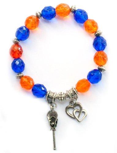 """Lacrosse Stick & Ball"" Girls Lacrosse Bracelet (Team Colors Orange & Royal Blue)-Medium"