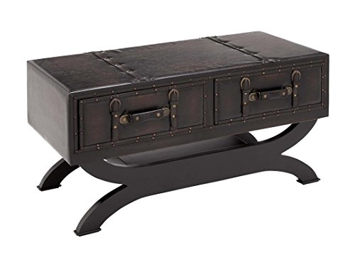 "Deco 79 55743 Wood Leather Coffee Table, 40"" x 21"", Black 1"