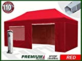 Eurmax Premium 6 x 3m Pop Up Gazebo Heavy Duty Marquee Folding Tent with Four Side Panels And Wheeled Carry Bag (Red)