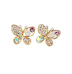 Girls Women Hollow Out Multicolour Mixed Color Crystal Shiny Rhinestone Butterfly Ear Stud Hook Earrings (Style 1)