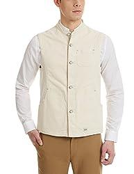 Blackberrys Men's Cotton Waistcoat (8907196583305_UJ-NANDY-S1-UC2_40_Ecru)