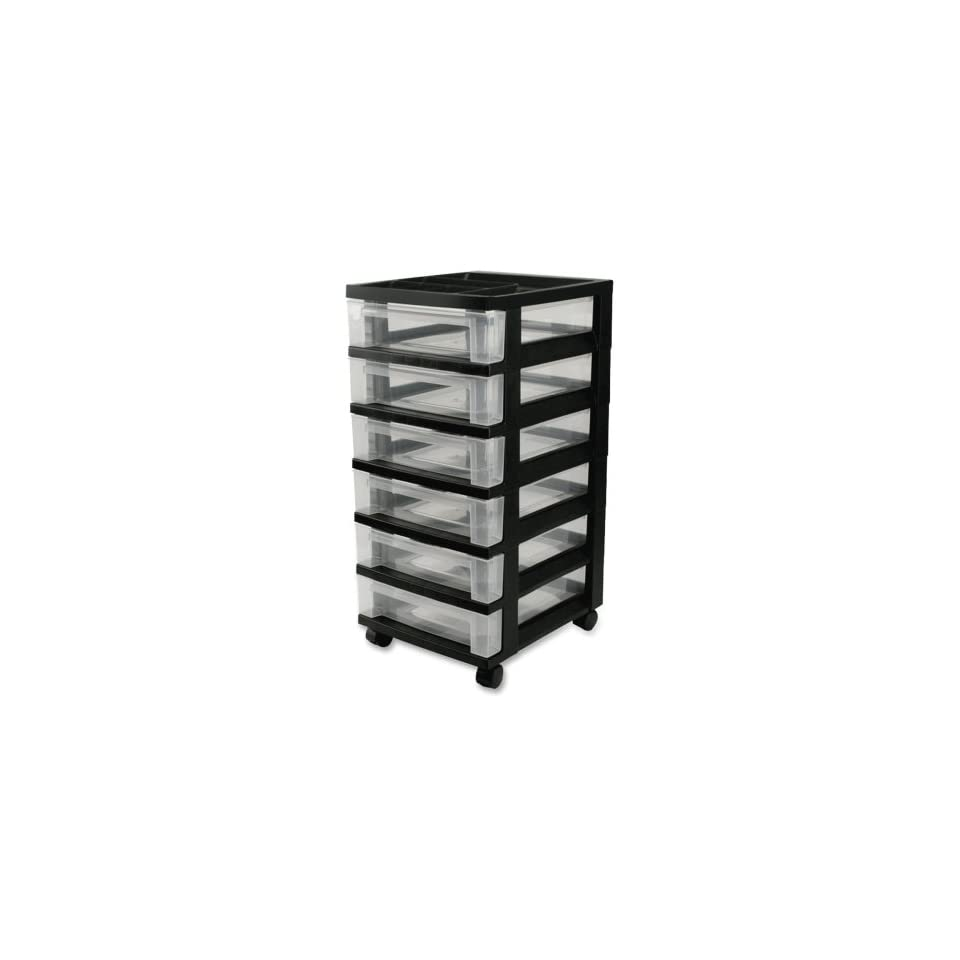 "Wholesale CASE of 5   Iris Mini Clear Plastic Storage Cart Mini Chests,6 Drawer,12 1/16""x14 1/4""x26 7/16"",Black"