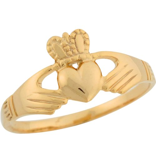 9ct Yellow Gold Claddagh Designer Inspired Special Ladies Ring