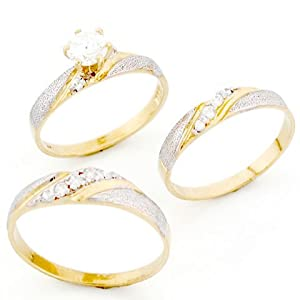 9ct two colour gold his amp hers trio cz wedding ring sets amazon co uk