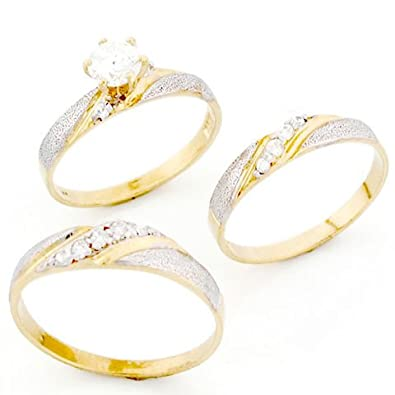9ct Two Colour Gold His & Hers Trio CZ Wedding Ring Sets
