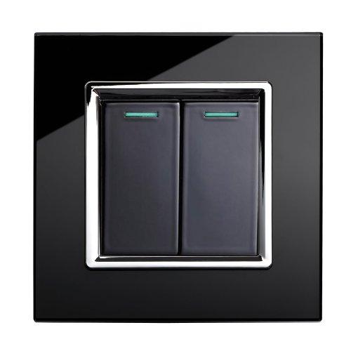 Retrotouch  Stunning Innovative Designer Range 2-Gang Mechanical Light Switch, Black
