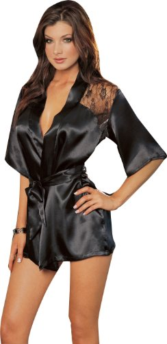 Sexy Black Kimono Intimate Sleepwear Robe Set – 3 Piece Lingerie – Small