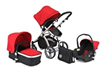 Hot Sale 2012 BLACK & RED CARRERA SPORT 3-in-1 Baby Travel System/Pushchair/Pram/Stroller..