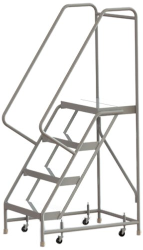 Tri-Arc WLAR104244 4-Step All-Welded Aluminum Rolling Industrial & Warehouse Ladder with Handrail, Ribbed Tread, 24-Inch Wide Steps
