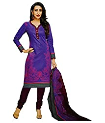 Shree Ganesh Purple Cotton Printed Unstitched Churiddar Suit with Dupatta