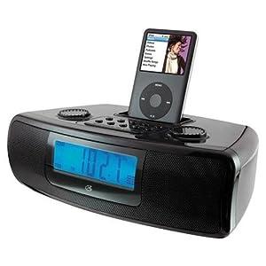 ilive ci3807 dual alarm clock with ipod dock black. Black Bedroom Furniture Sets. Home Design Ideas