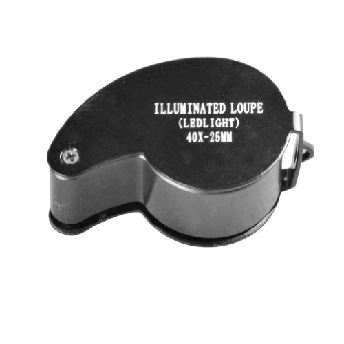 40x25 mm Magnifying Glass Jeweler Eye Jewelry Loupe Loop LED Magnifier(Black)