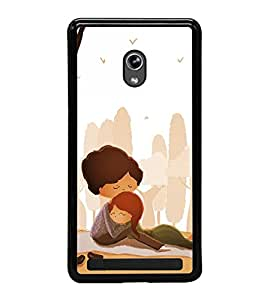Fuson Premium 2D Back Case Cover Lovely hug With Yellow Background Degined For Asus Zenfone 5::Asus Zenfone 5 A500CG