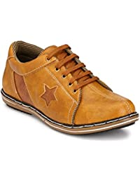 Knoos Men's Synthetic Leather Beige Sneakers (SKR-902-BG)