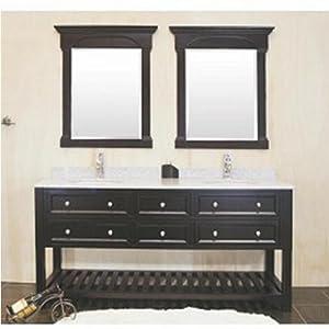 60 Inches Double Sink Bathroom Vanity With Granite Top Undermount Ceramic Ba