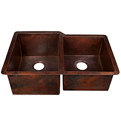 "31"" X 20"" Undermount Double Basin Black Copper Kitchen Sink"