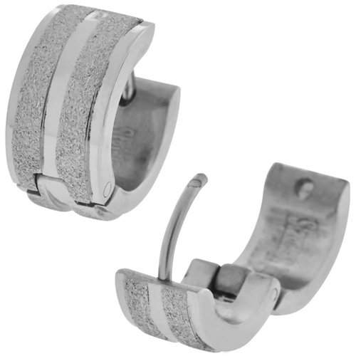 Inox Jewelry Sparkling Stripe 316L Stainless Steel Huggy Earrings