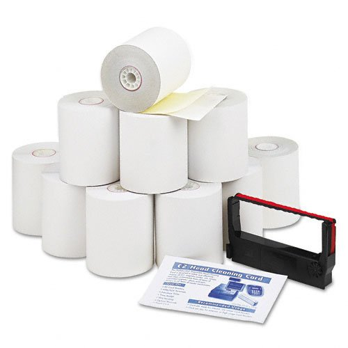 "PM Company Products - PM Company - Credit/Debit Verification Kit, 3"" x 90 ft, White/Canary, 10/Carton - Sold As 1 Carton - Convenient all-in-one kit contains paper rolls, one cleaning card and one ribbon. - Quality two-ply carbonless rolls provide duplicate copies with crisp, dark images. - Swipe-through cleaning card removes all dirt on machine's card-reader mechanism. - Ribbons include superior inks and nylons for long life and optimum performance. - Elemental chlorine-free."