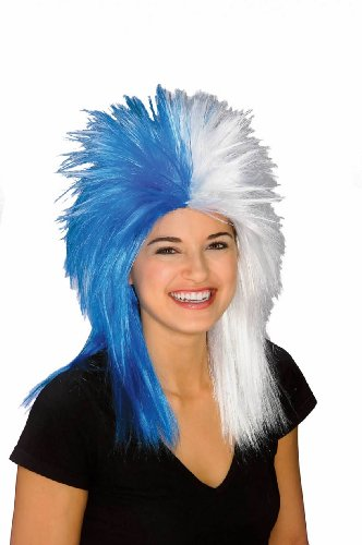 Rubie's Costume Blue and White Sports Fan Wig