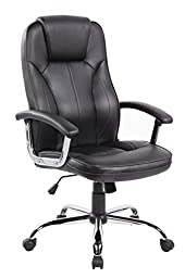 Anji High Back Upholstered Leather Executive Office Chairs with Padded Arms and Lumbar Support Black