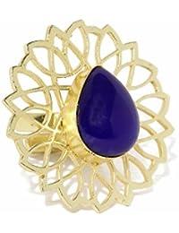 Zaveri Pearls Semi Precious Blue Sapphire Stone Finger Ring For Women - ZPFK5772