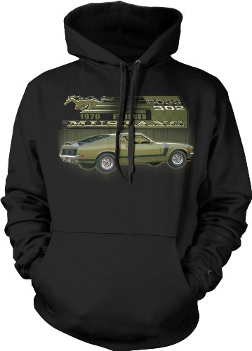 1970 Ford Mustang Boss 302 Mens Sweatshirt, Officially Licensed Ford Motor Company Mens Pullover Hoodie, Medium, Black