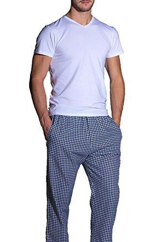 OLIMPIA pantalone homewear 100% cotone (54 XL IT Uomo, tartan blu)