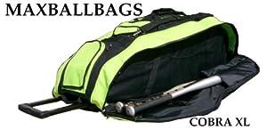 Black & Lime Green Cobra XL Softball Baseball Catchers Bat Equipment Roller Bag by MAXOPS
