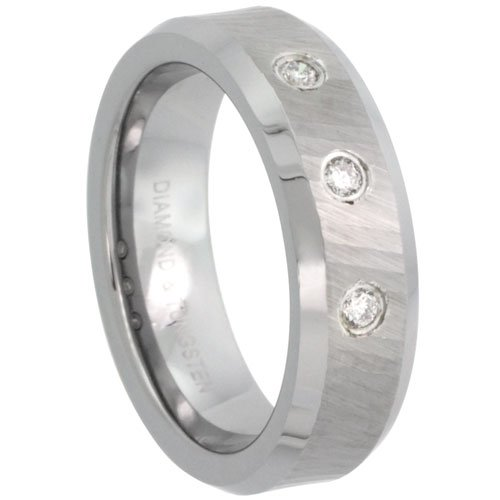 Tungsten Carbide Diamond 6 mm Wedding Band 3 Stone Ring his & hers 0.10 cttw Dazzling Antiqued Diamond Cut Finish Beveled Edges, size 8