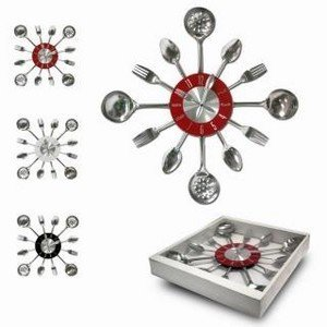 pendule horloge en inox murale pour decoration de cuisine. Black Bedroom Furniture Sets. Home Design Ideas