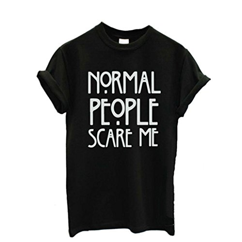 T-shirt da donna,Xinantime Normal people scare me casuali top a manica corta (S, Nero)