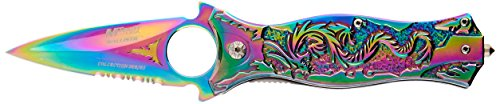 """Master Cutlery MT-A707RB 4.5"""" All Rainbow Folder, Flame Hs Blade, Blue Dragon Handle with Glass Breaker"""