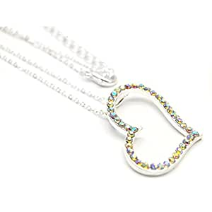 "Aurora Borealis Crystal Large Floating Heart Silver-Tone Pendant Necklace 16"" to 19"""