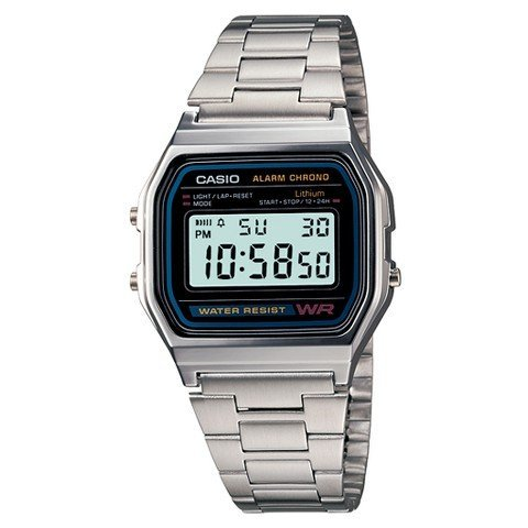Mens-Casio-Digital-Bracelet-Watch-Silver-A158W-1-TRG
