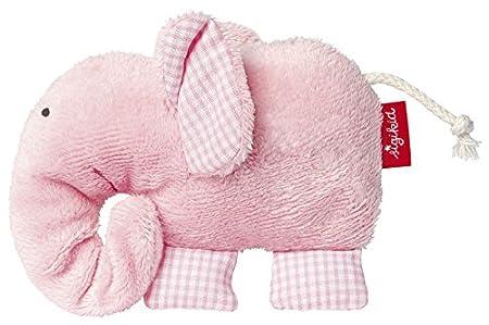 sigikid 40963 fille, doudou d'éveil éléphant, coton organique, rose pâle, 'First Hugs'