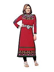 Sanchey Red Cotton Embroidered Dress Material